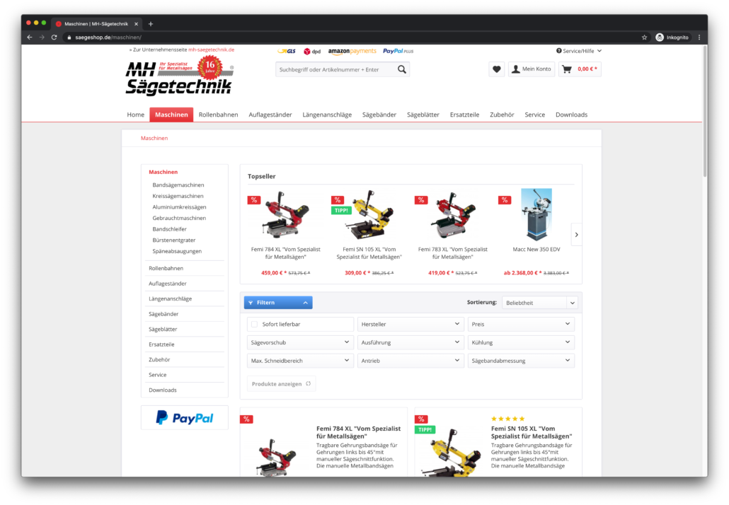 Saegeshop.de Screenshot